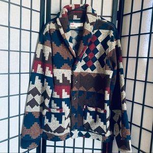 Levis Kuna tribal fleece cardigan sweater sz M